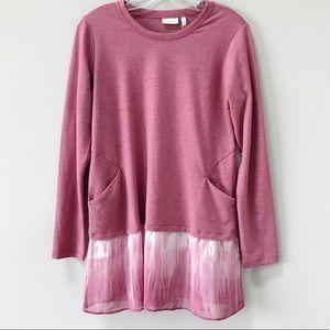LOGO Lori Goldstein Lounge Sweatshirt XS Pink